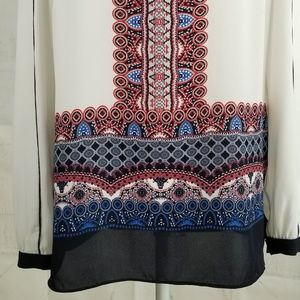 Adrianna Papell Tops - Adrianna Papell Tunic White Red Blue Black Sz Smal